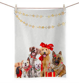 Greenbox Art Holiday-Festive Puppy Pack Tea Towel