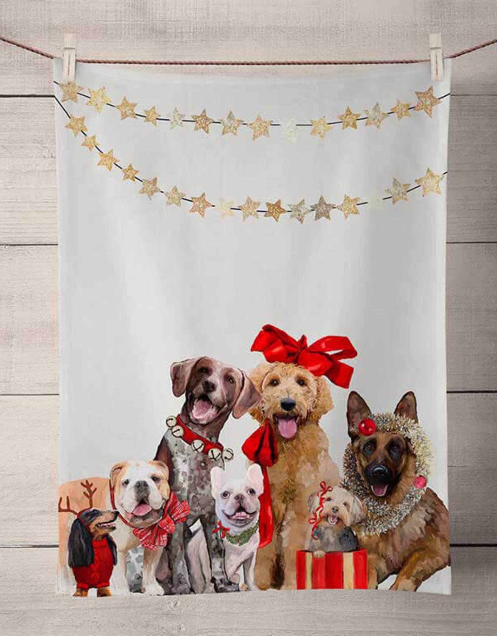 Greenbox Art Holiday-Festive Puppy Pack Tea Towel
