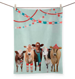 Greenbox Art Holiday - Festive Cow Club Tea Towel
