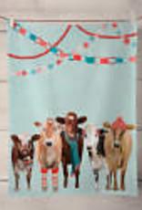 Greenbox Art Holiday - Festive Cow Club Tea Towel