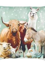 Greenbox Art Holiday - Winter Farm  Pillow 20 x 20