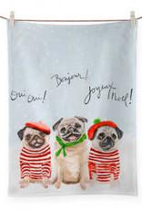 Greenbox Art Holiday - 3 French Pugs - Red & Green Tea Towel