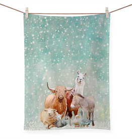 Greenbox Art Holiday - Winter Farm Tea Towel