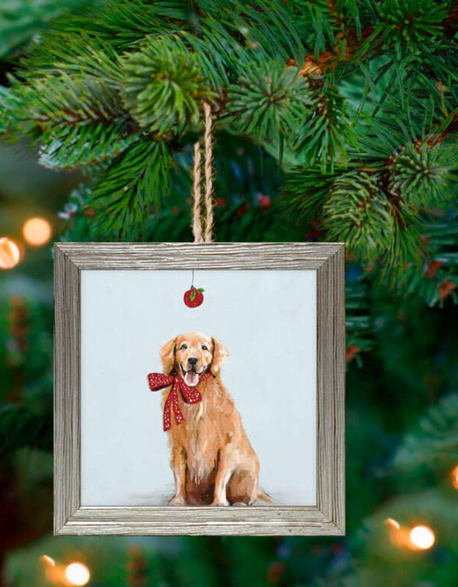 Greenbox Art Holiday - Festive Golden Retriever Embellish Framed Wooden Ornament