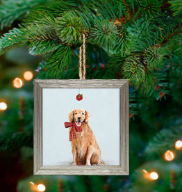 Greenbox Art Holiday - Festive Golden Retriever Embellish Framed Wooden Ornament