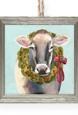 Greenbox Art Holiday - Festive Cow Embellish Framed Wooden Ornament