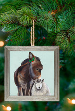 Greenbox Art Holiday - Festive Donkey & Sheep Embellish Framed Wooden Ornament