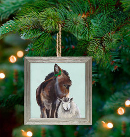 Greenbox Art Holiday - Festive Donkey & Sheep Embellish Framed Wooden Ornament