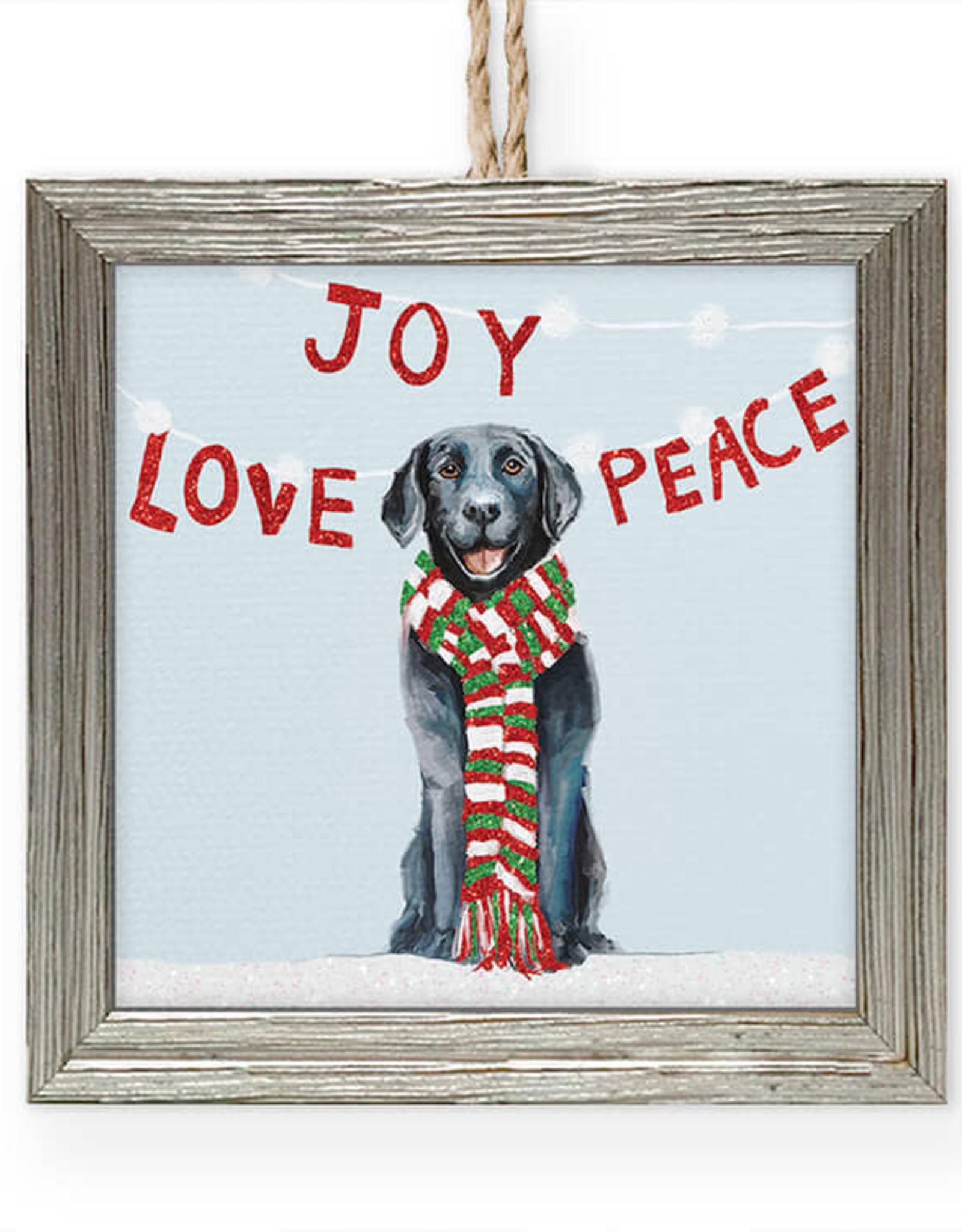 Greenbox Art Holiday - Joy Love Peace Embellish Framed Wooden Ornament