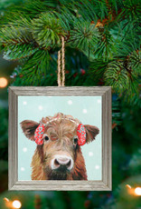 Greenbox Art Holiday - Festive Highland Cow Embellish Framed Wooden Ornament
