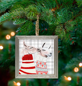 Greenbox Art Holiday - Fair Isle Llamas Embellish Framed Wooden Ornament