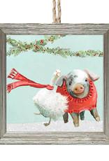 Greenbox Art Holiday - Festive Goose & Pig Pals Embellish Framed Wooden Ornament