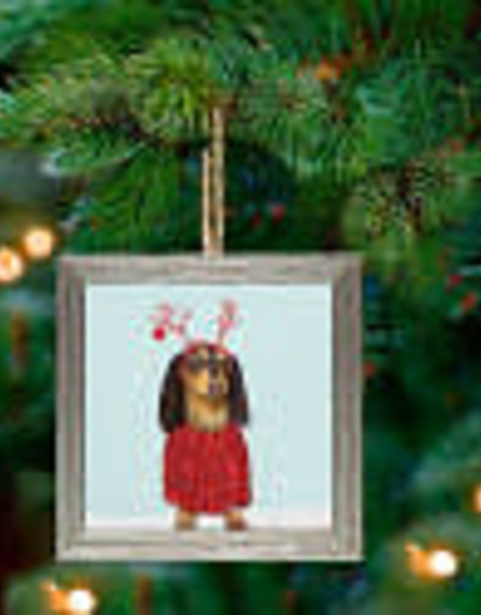 Greenbox Art Holiday - Festive Doxie Embellish Framed Wooden Ornament