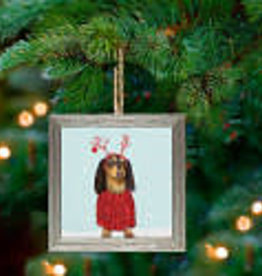Greenbox Art Holiday - Festive Doxie Embellish Framed Wooden Ornament