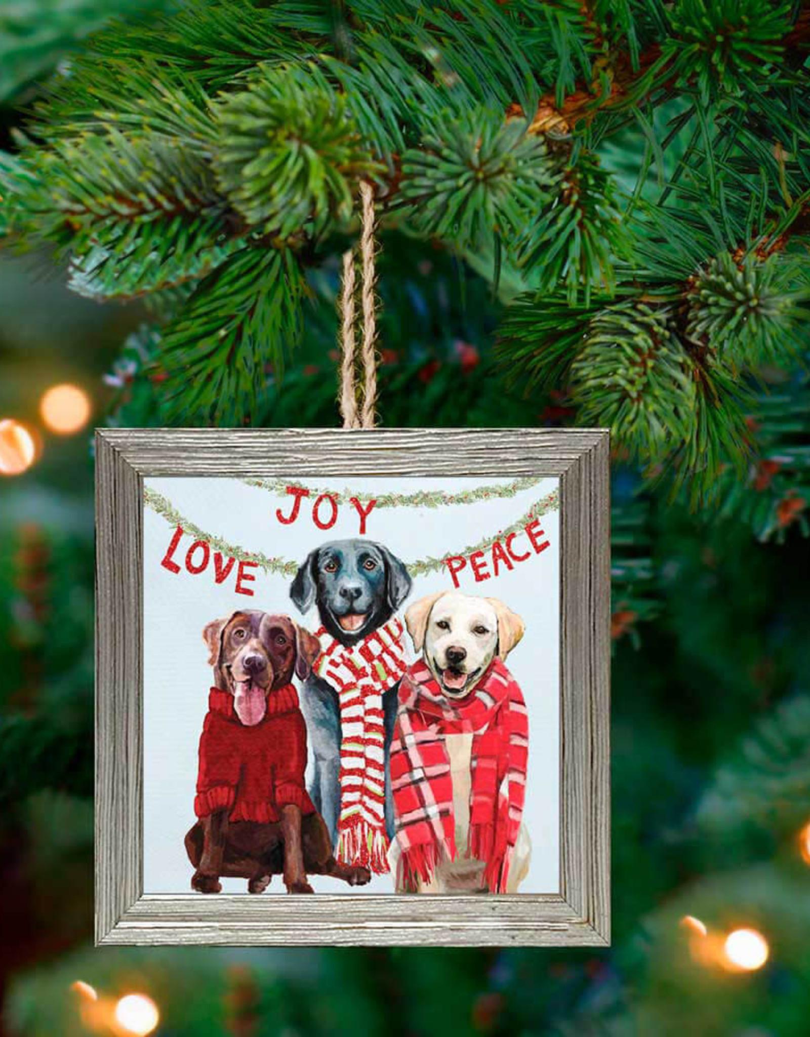 Greenbox Art Holiday - Lab Love Embellished Framed Wooden Ornament