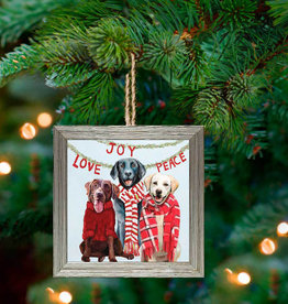 Greenbox Art Holiday - Lab Love Embellished Framed Wooden Ornament
