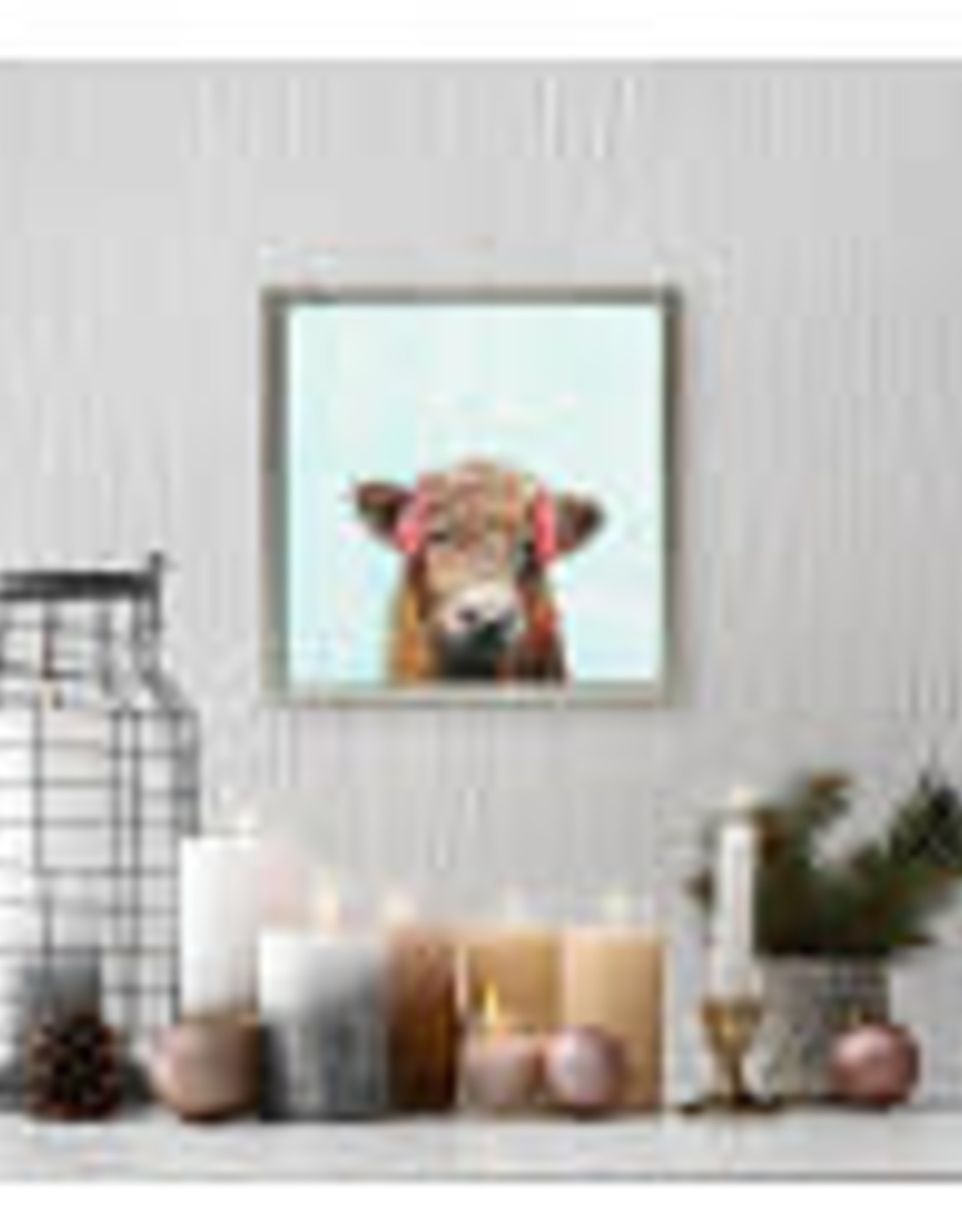 Greenbox Art Holiday -  Festive Highland Cow Mini Framed Canvas