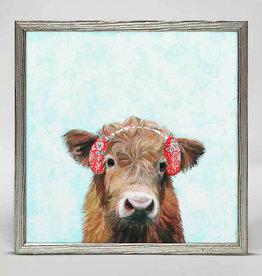Greenbox Art Holiday -  Festive Highland Cow Mini Framed Canvas