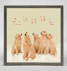 Greenbox Art Holiday -  5 Goldens Singing Mini Embellished Framed Canvas