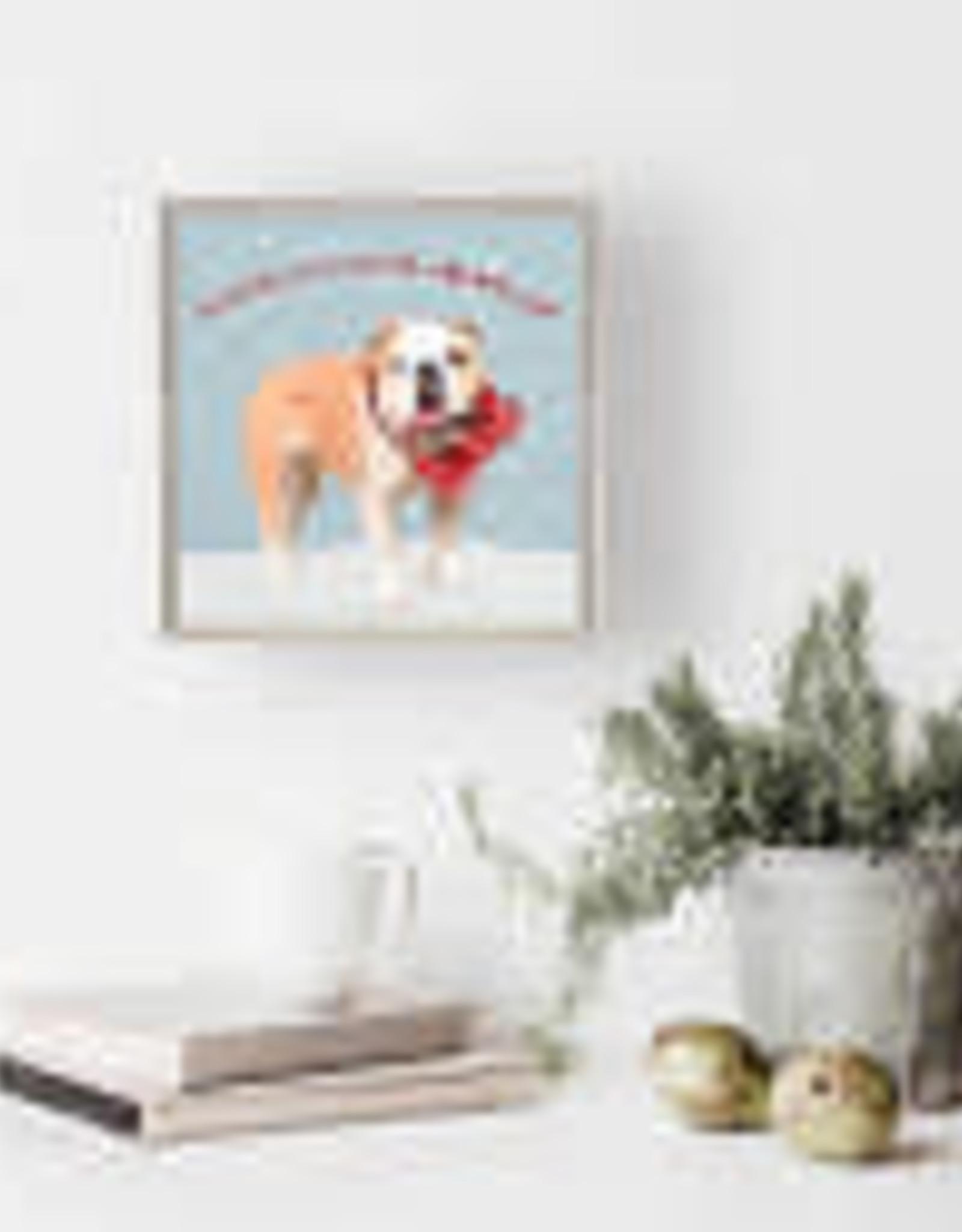 Greenbox Art Holiday -  Festive Bulldog Mini Framed Canvas