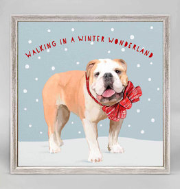 Greenbox Art Holiday -  Festive Bulldog Mini Framed Canvas