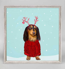 Greenbox Art Holiday -  Festive Doxie Mini Framed Canvas