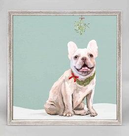 Greenbox Art Holiday -  Festive Cream Frenchie Mini Framed Canvas