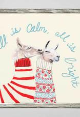 Greenbox Art Holiday -  Festive Fair Isle Llamas Mini Framed Canvas