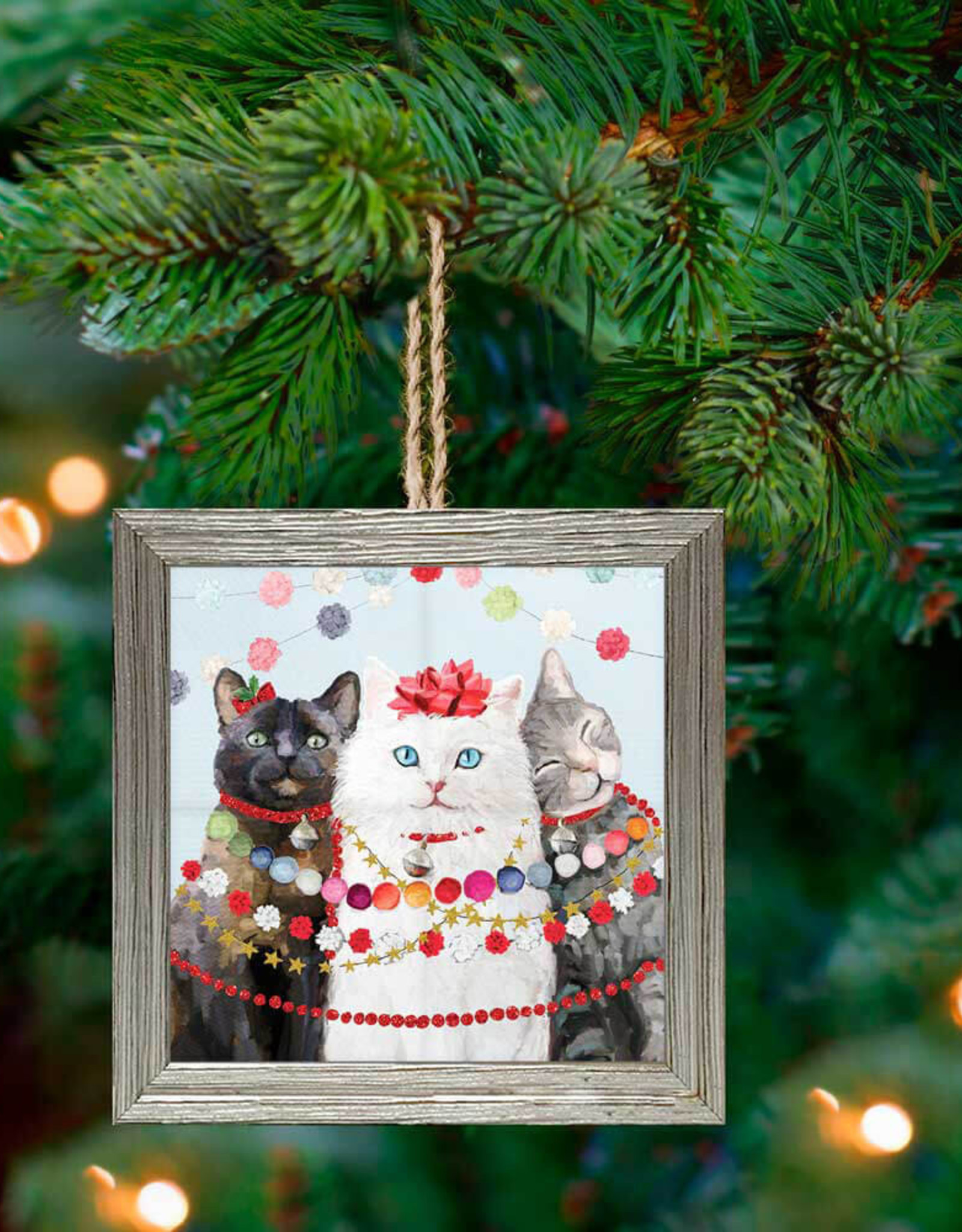 Greenbox Art Holiday - Festive Cat Trio Framed Wooden Ornament