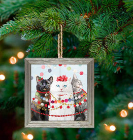 Greenbox Art Holiday - Festive Cat Tro Framed Wooden Ornament