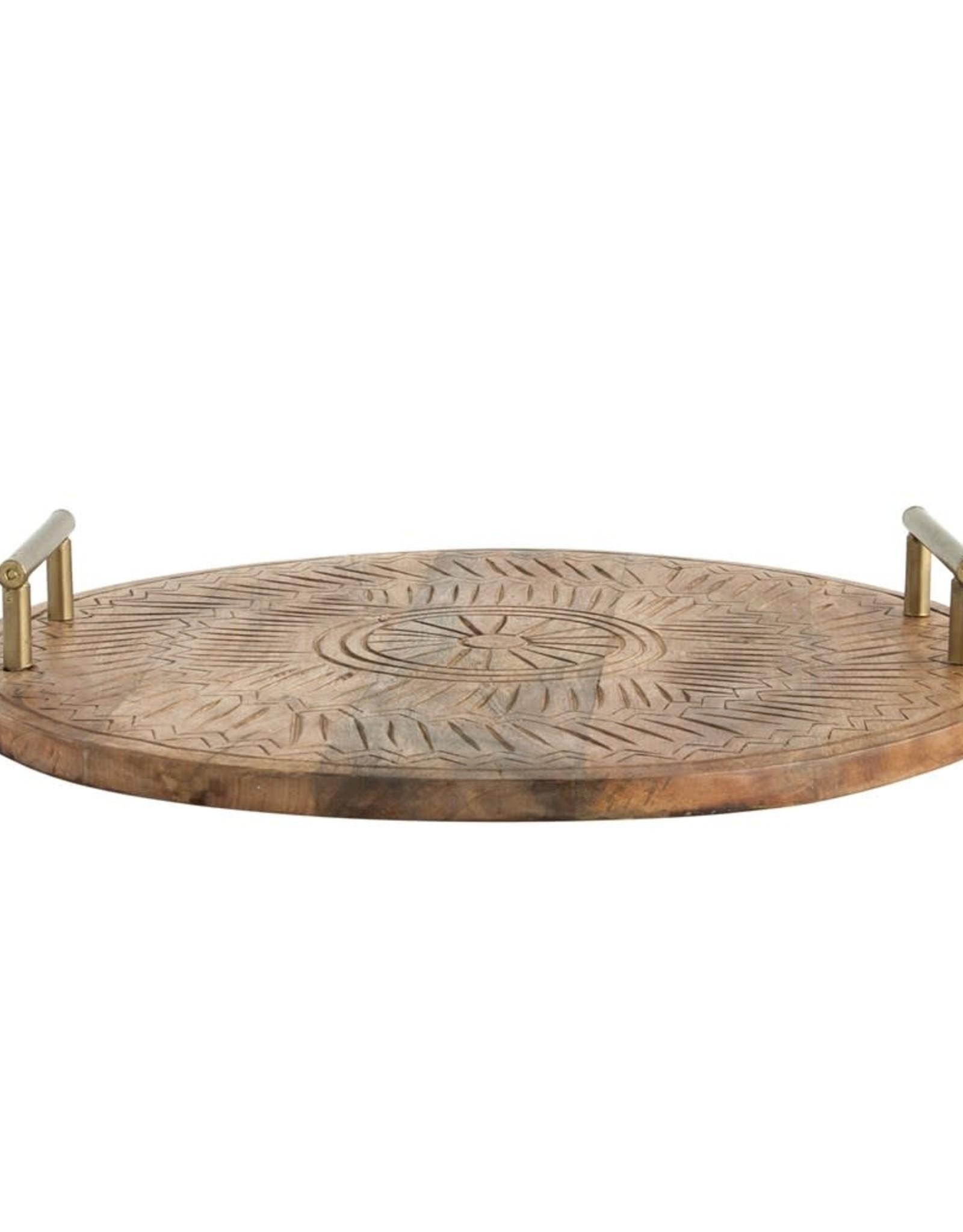 "20"" x 3""H Round Hand-Carved Mango Wood Tray w/ Metal Handles"