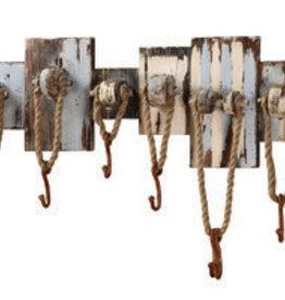"32-1/2""L x 11""H Wood Wall Hook- Nautical Ropes & Hooks"