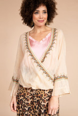 Front Wrap Top W Ruffle Sleeve And Embroidery