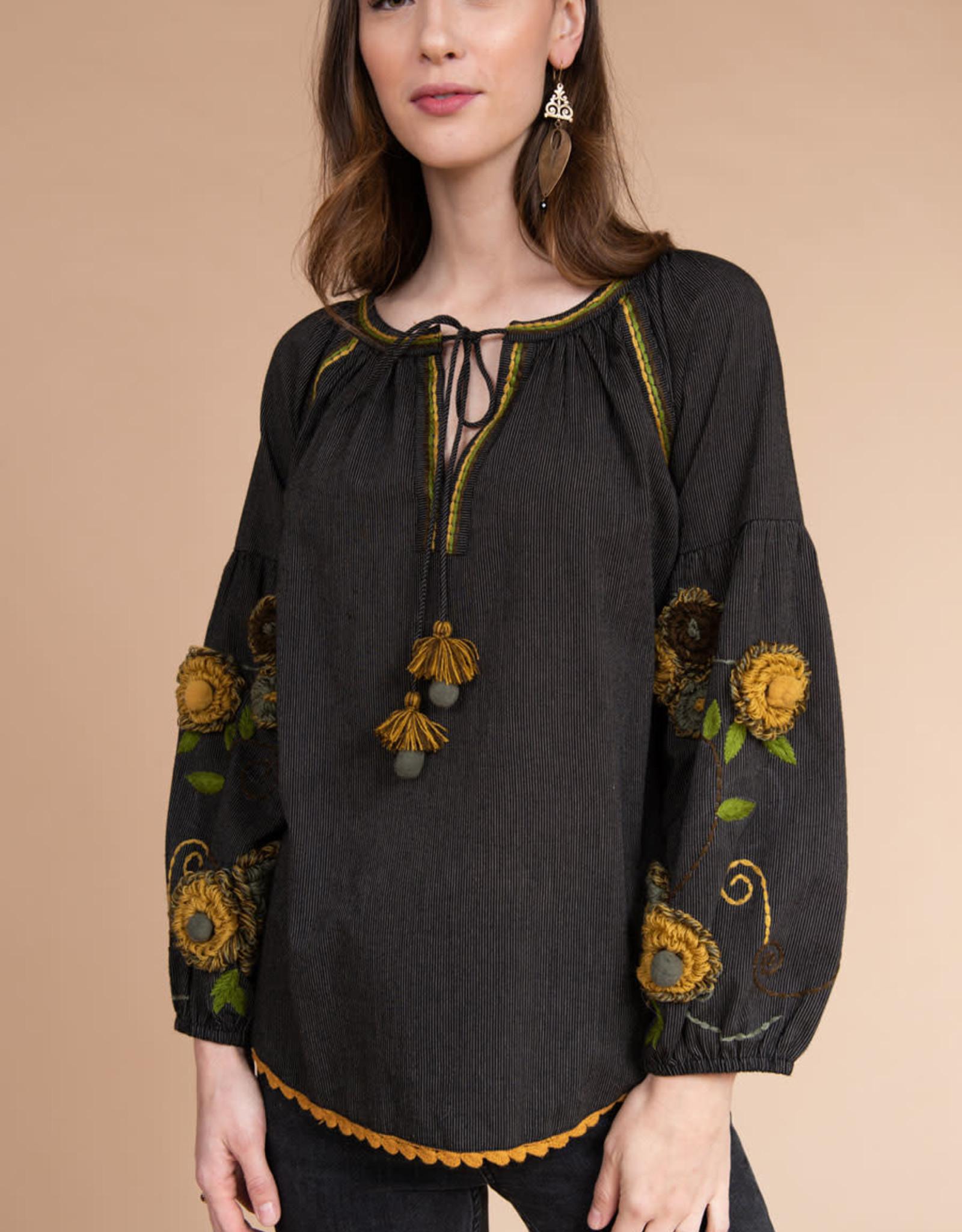 Ivy Jane Yarn Flower Sleeve Top
