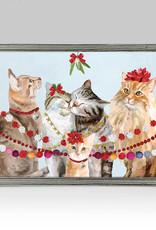 Greenbox Art Holiday- Festive Cat Bunch Embellished Mini Framed Canvas