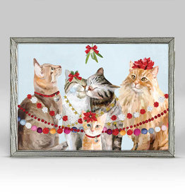 Greenbox Art Holiday- Festive Cat Bunch Embellished Mini Framed Canvas
