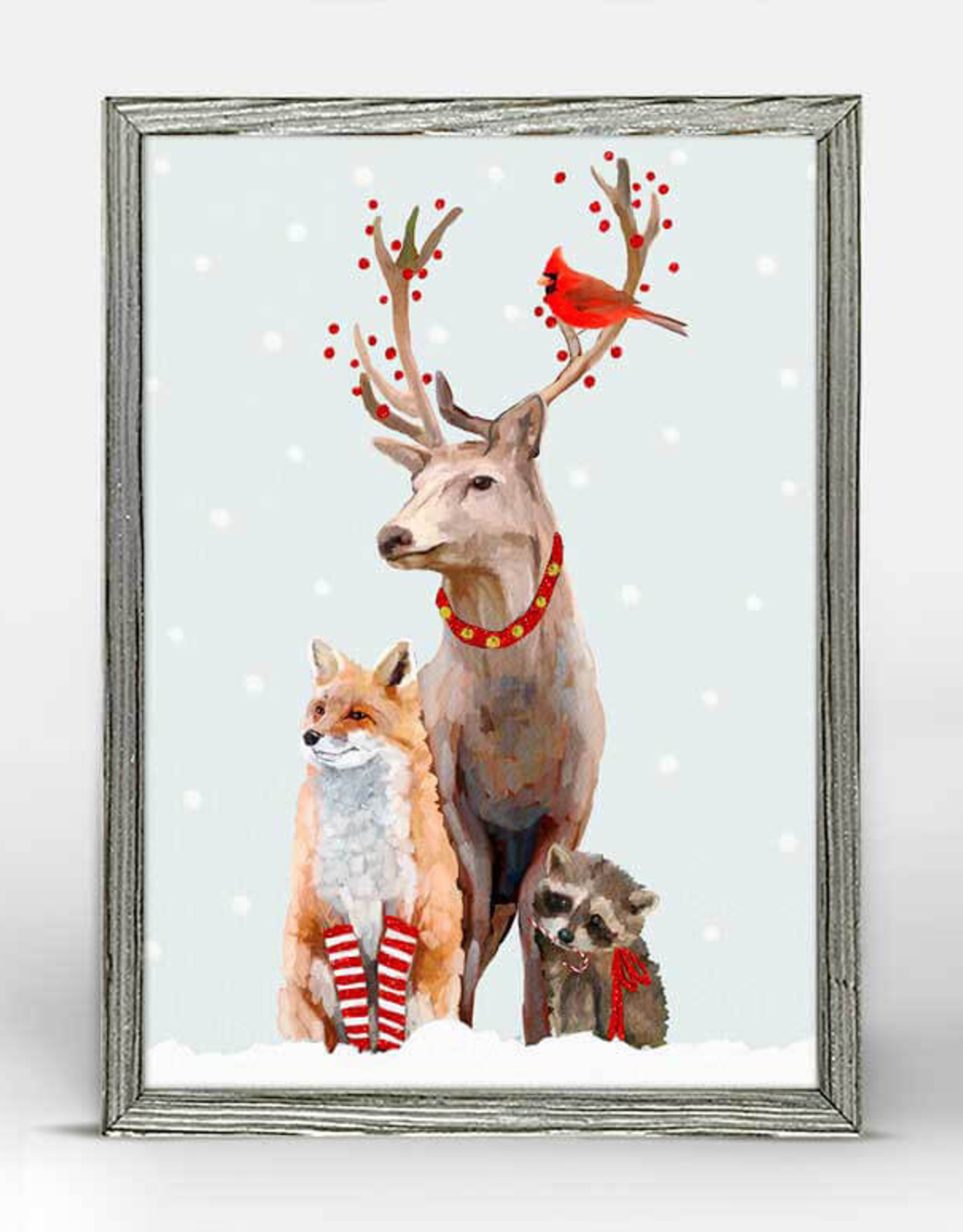 Greenbox Art Holiday -  Christmas Buck And Buddies Embellished Mini Framed Canvas