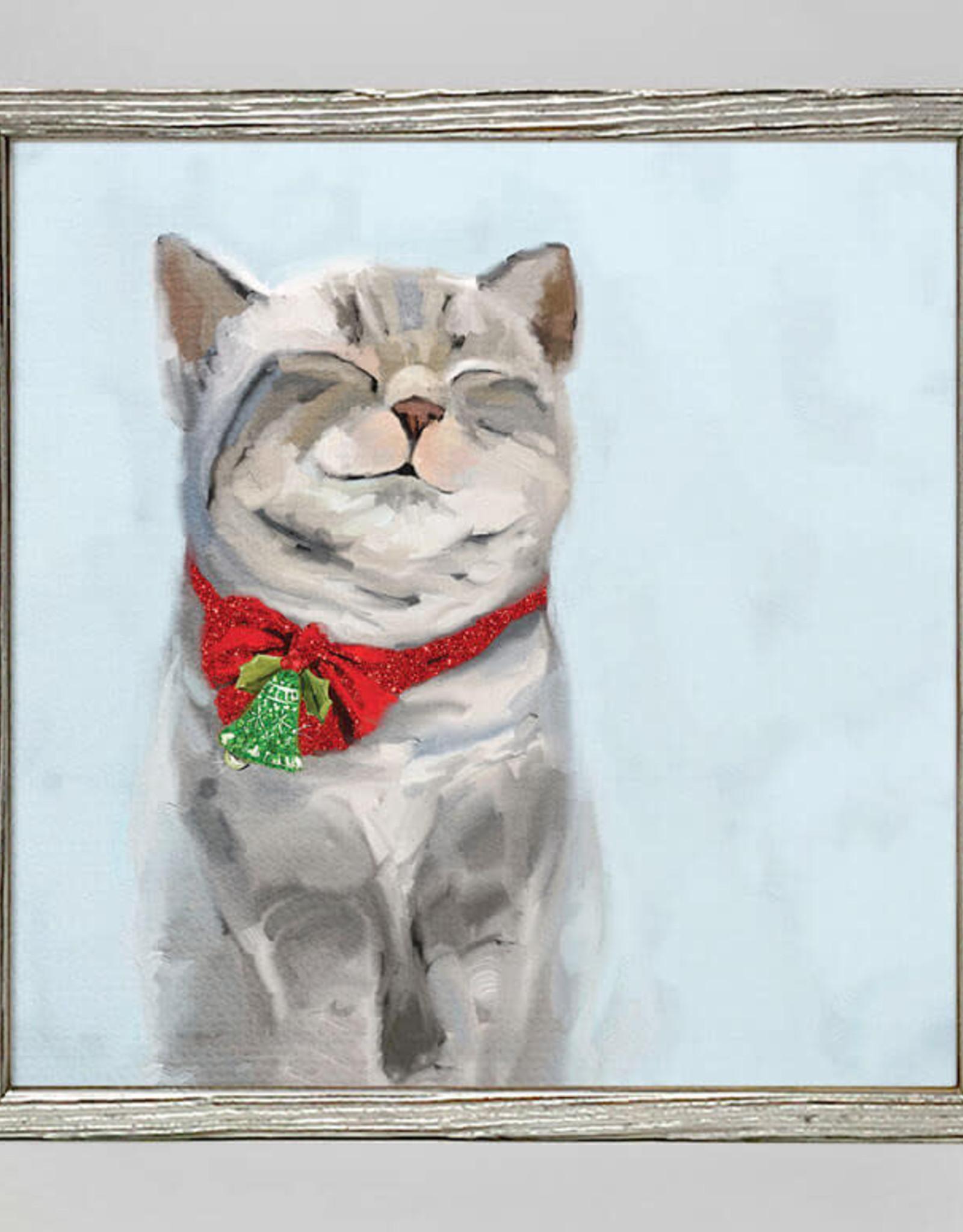 Greenbox Art Holiday -Festive Tabby Embellished Mini Framed Canvas