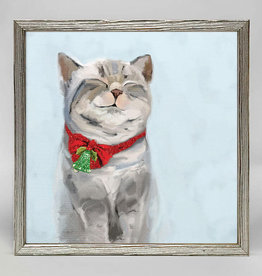 Greenbox Art Holiday -Festive Tabby Embellished Mini Framed Canvas