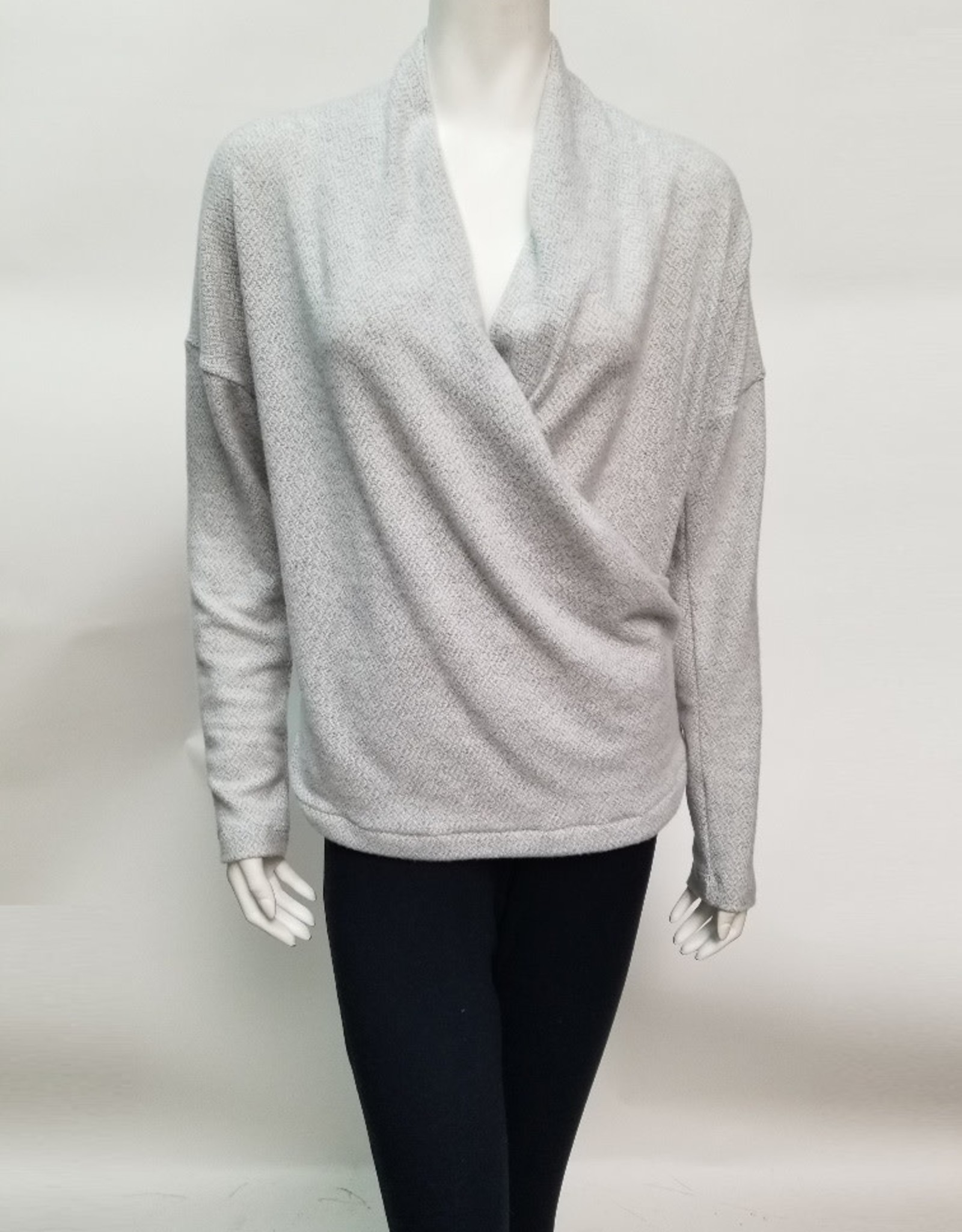 Nally & Millie Grey Brushed Wrap Top