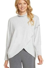 Grey Brushed Mock Neck Cross Front Wrap Top