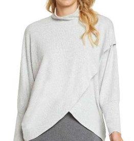 Grey Brushed Mock Neck Cross Front Wrap Top