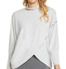 Nally & Millie Grey Brushed Mock Neck Cross Front Wrap Top