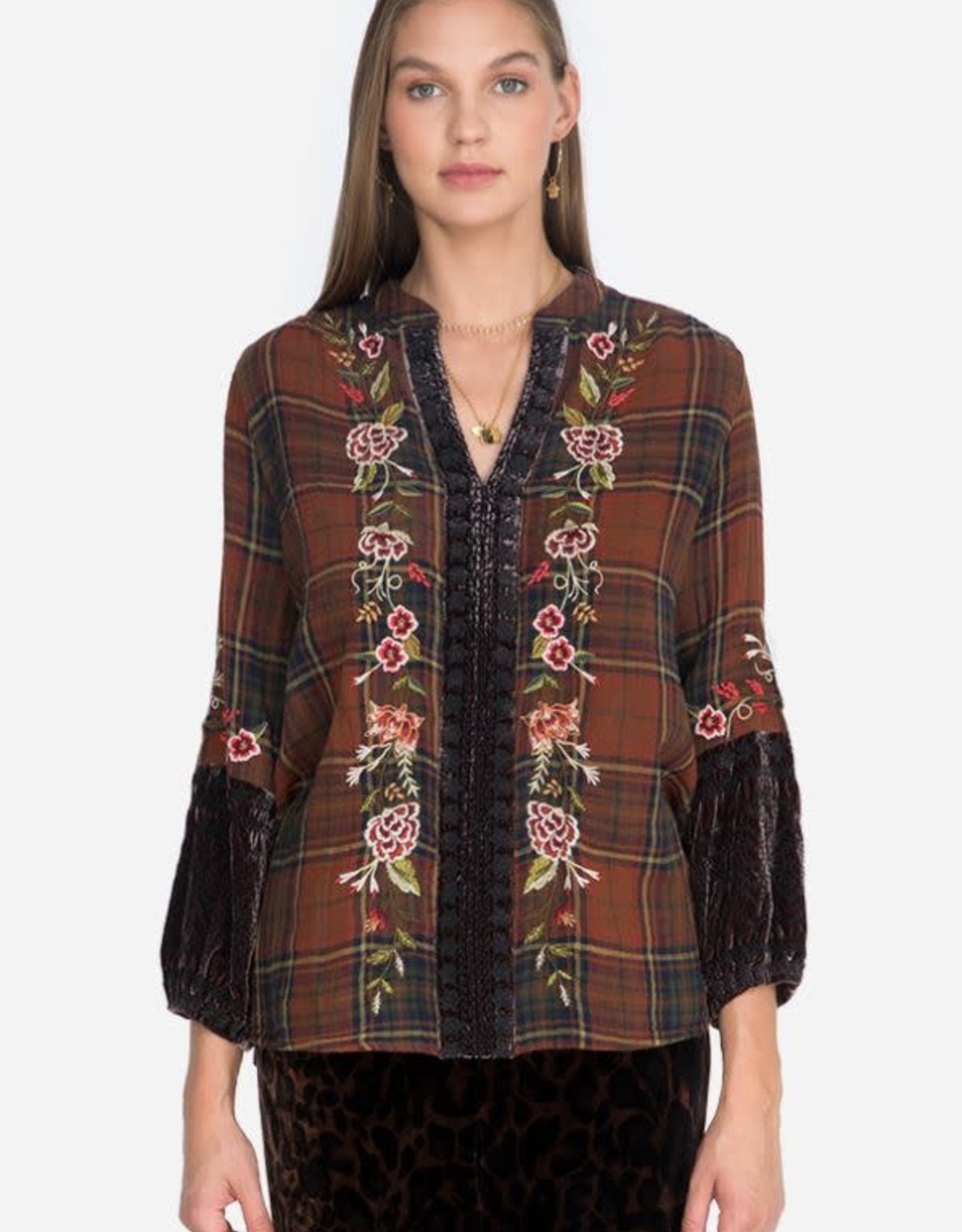 Johnny Was Collection Uccello Velvet Mix Paris Effortless Blouse