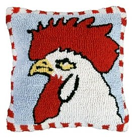 "Chicken Hooked Pillow 18"" x 18"""
