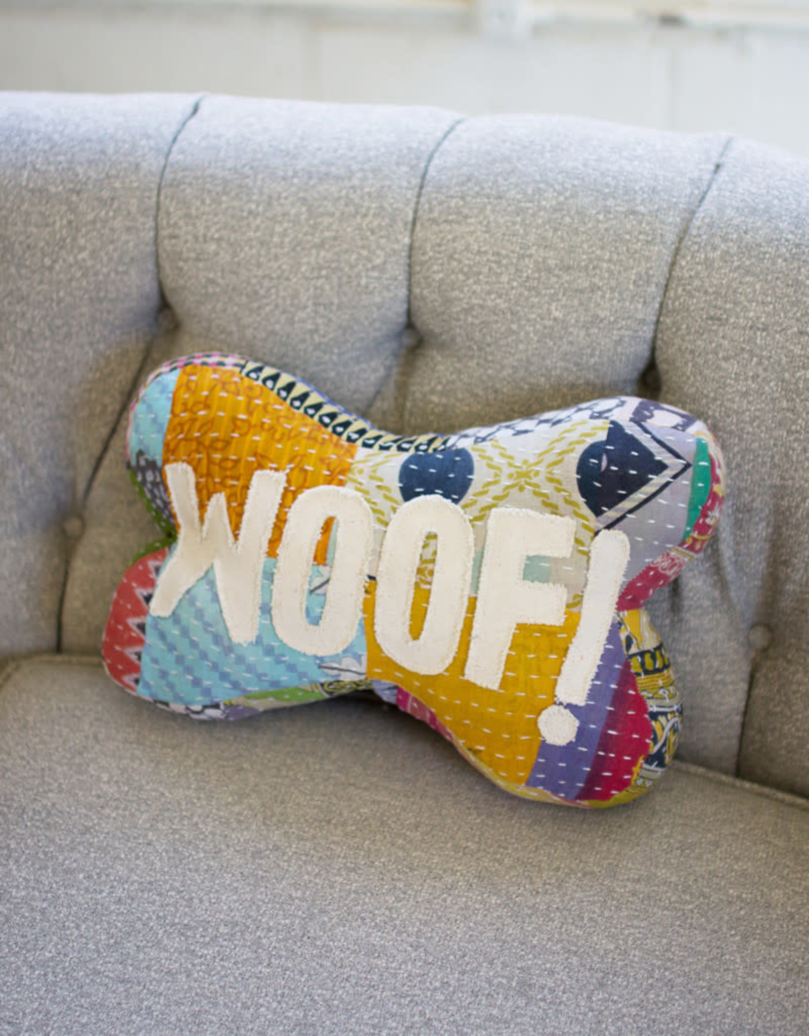 Kalalou Kantha Bone Pillow -  Woof!