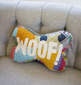 Kalalou Kantha Bone Pillow -  Woof!