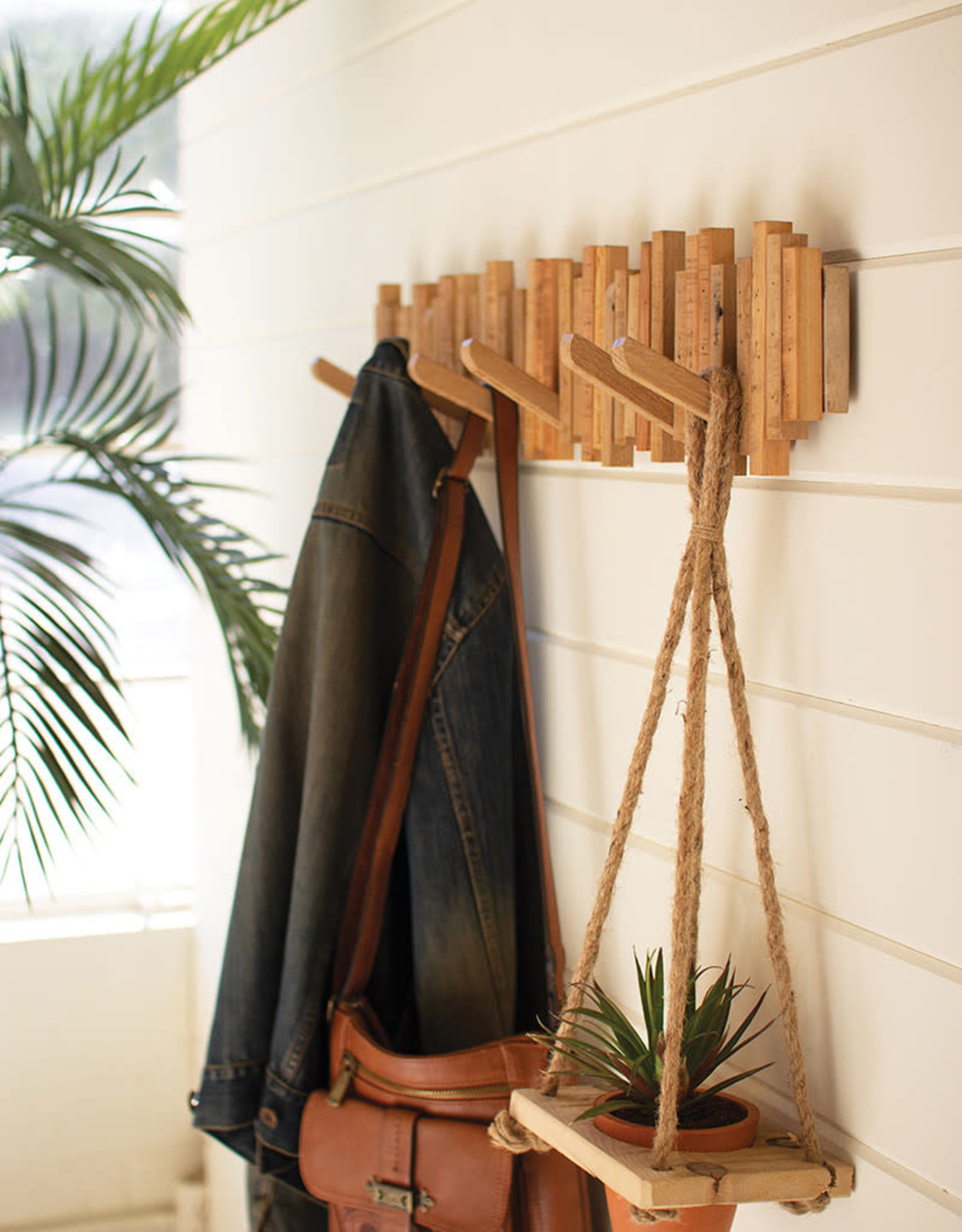 Kalalou Recycled Wood Coat Rack