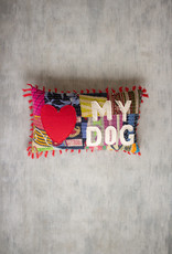 Kalalou Love My Dog Kantha Pillow
