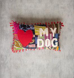 Kalalou Love My Dog Kantha Pillow